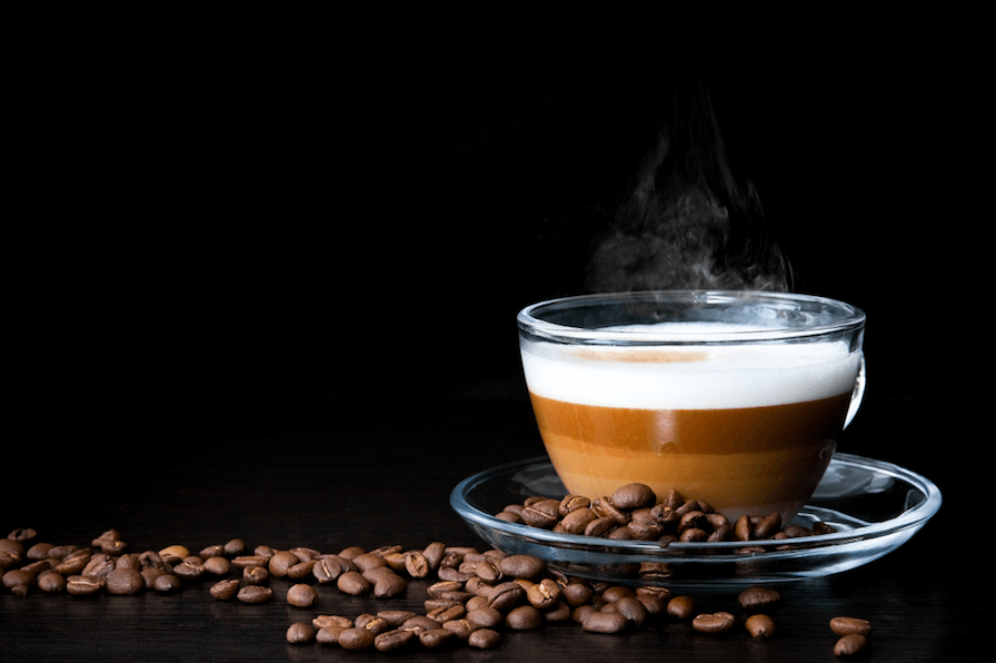 Hot Cappuccino in a Glass Cup
